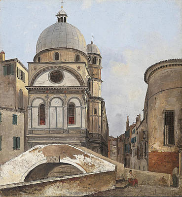 Dei Painting - View Of The Churches Maria Dei Miracole And Santa Maria Nova In Venice by Ippolito Caffi
