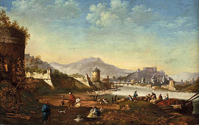 Rights Painting - View Of The City Of Salzburg With Fortifications From Mirabell Palace by Johann Anton Eismann