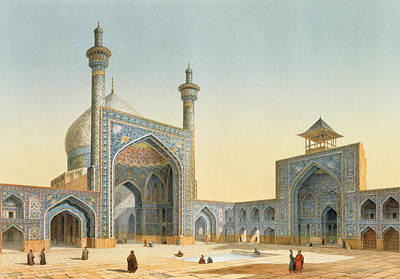 Iran Painting - View Of The Courtyard by Pascal Xavier Coste