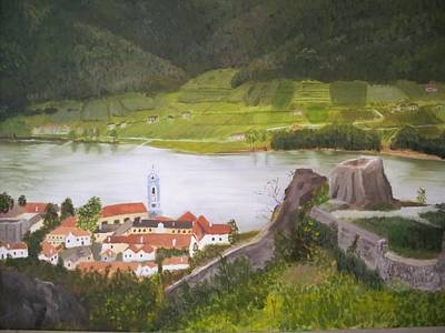 Durnstein Painting - View Of The Danube In Durnstein-wachau by Simone Demberg