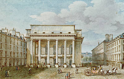Town Square Drawing - View Of The Facade Of The Theatre Italien Salle Favart  by Victor Jean Nicolle