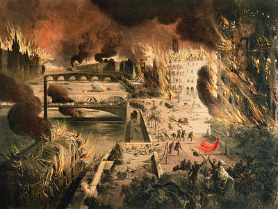 View Of The Fires In Paris During The Commune On The 24th And 25th Of May, 1871 Colour Litho Art Print by French School