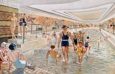 Murals Drawing - View Of The First Class Swimming Pool by French School