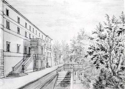 Sepia Ink Drawing - View Of The Garden Terrace Of The Villa by Israel Silvestre