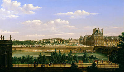 View Of The Gardens And Palace Of The Tuileries From The Quai Dorsay, 1813 Oil On Canvas Art Print