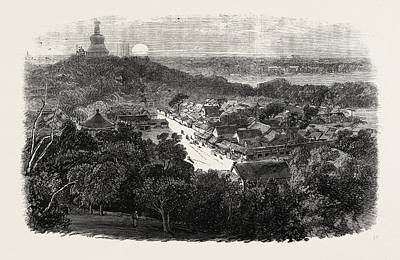 Buddhist Drawing - View Of The Gardens And The Buddhist Temple In The Imperial by Chinese School