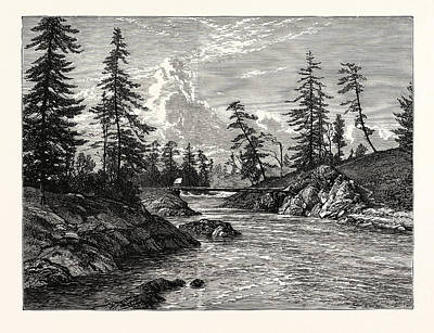 Vancouver Drawing - View Of The Gorge, Or Narrowest Point Of The Western by English School