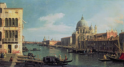 Venetian Architecture Painting - View Of The Grand Canal Santa Maria by Canaletto