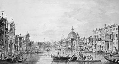 Crt Wall Art - Photograph - View Of The Grand Canal, Venice, C.1800 Pen & Ink Wash by Francesco Triconi