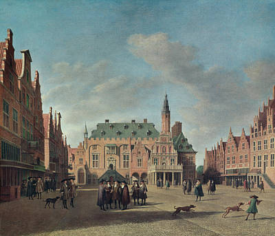 Daily Life Photograph - View Of The Grote Markt In Haarlem Oil On Canvas by Gerrit Adriaensz Berckheyde