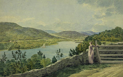 Cities Drawings - View of the Hudson circa 1817 by Aged Pixel