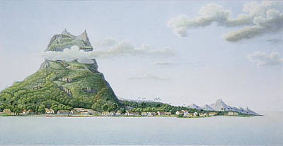 Oceania Drawing - View Of The Island Of Bora Bora by Antoine Lejeune and Chazal