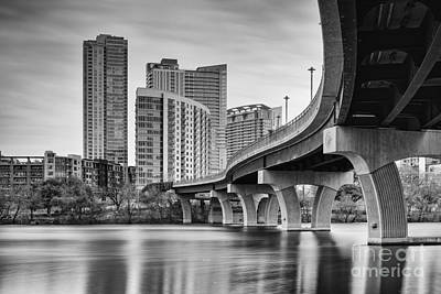 Austin Skyline Photograph - View Of The James D. Pfluger Pedestrian Bridge Over Lady Bird Lake - Austin Texas Hill Country by Silvio Ligutti