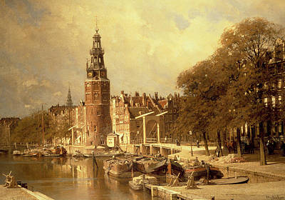 Perspective Painting - View Of The Kalk Market In Amsterdam by Johannes Karel Christian Klinkenberg