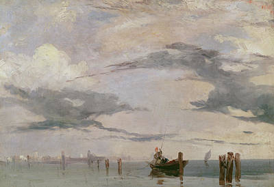 Art Of Building Painting - View Of The Lagoon Near Venice, 1826  by Richard Parkes Bonington