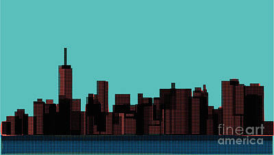 Abstract Skyline Wall Art - Digital Art - View Of The Manhattan In The Pop Art by Finlandi