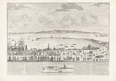 Lighthouse Drawing - View Of The Marina And The Roads Of Messina by Willem Fortuyn