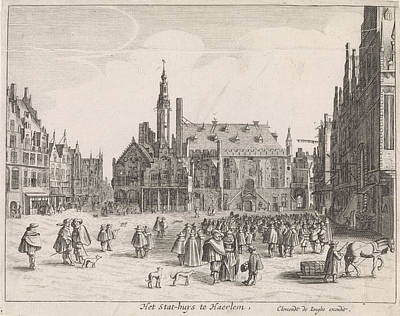 View Of The Market Square With The Town Hall In Haarlem Art Print by Jan Van De Velde Ii And Pieter Jansz. Saenredam