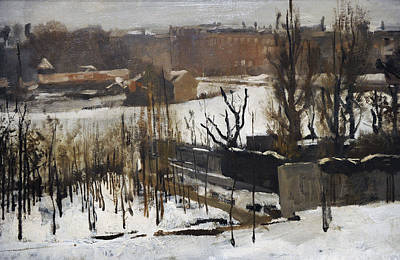Winter In The City Photograph - View Of The Oosterpark, Amsterdam, In The Snow, 1892, By George Hendrik Breitner 1857-1923 by Bridgeman Images