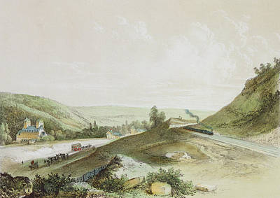 French Countryside Photograph - View Of The Paris-orleans Railway Near Etrechy Colour Litho by Jean-Jacques Champin