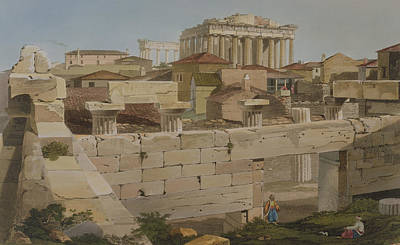 Temple Drawing - View Of The Parthenon by Edward Dodwell