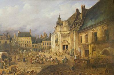 View Of The Place De Lhotel De Ville, Saint-omer, 1832 Oil On Canvas Art Print by Charles Goureau