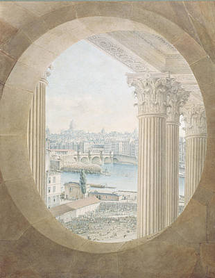 Corinthian Photograph - View Of The Pont Neuf From A Bulls Eye Window Of The Louvre, 1810 Wc On Paper by Victor Jean Nicolle