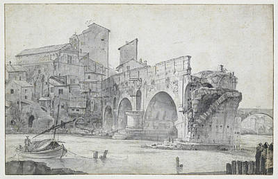 View Of The Ponte Rotto And Trastevere Rome Italy Print by Quint Lox