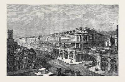 Outlook Drawing - View Of The Proposed High Level Road Or Viaduct From St by Marrable, Madeline F. Cockburn (?-1916), British