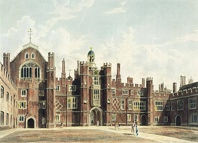Tourist Attraction Drawing - View Of The Quadrangle At Hampton Court by William Westall