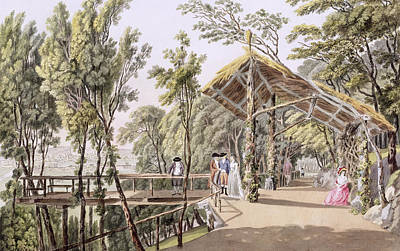 Pathways Drawing - View Of The Reisenberg Gardens by Laurenz Janscha