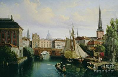 Capital Cities Painting - View Of The Riddarholmskanalen by Gustav Palm