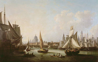 Old Sailing Ship Painting - View Of The River Thames  by John Thomas Serres