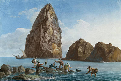 Cyclops Painting - View Of The Rocks On The Third Island Of Cyclops by Jean-Pierre-Louis-Laurent Houel