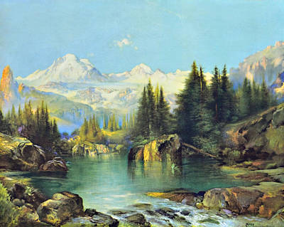 View Of The Rocky Mountains Art Print by Susan Leggett