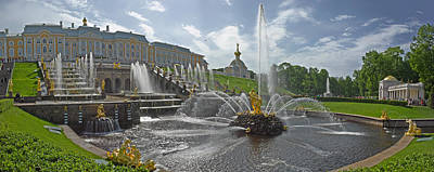 View Of The Samson Fountain In Front Art Print by Panoramic Images