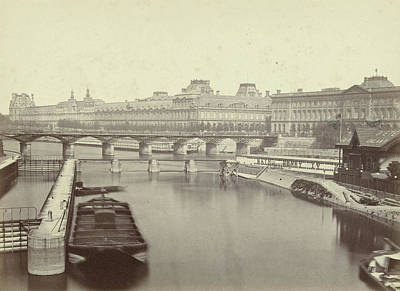 Louvre Drawing - View Of The Seine And The Louvre, Paris, France by Artokoloro