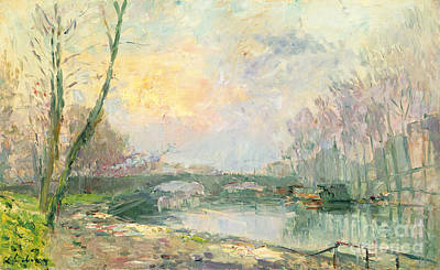 Sunset Painting - View Of The Seine Paris by Albert Charles Lebourg
