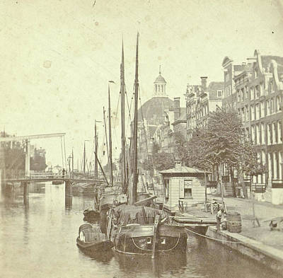 View Of The Singel In Amsterdam, The Netherlands Art Print