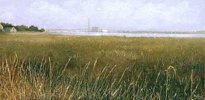 Queen Elizabeth Ii Painting - View Of The Thames From Rainham Marsh by Eric Bellis