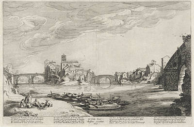 Tiber Island Wall Art - Drawing - View Of The Tiber With Roman Bridges, Jan Van De Velde II by Jan Van De Velde (ii) And Claes Jansz. Visscher (ii)