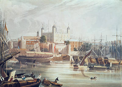 Harbour Drawing - View Of The Tower Of London by John Gendall