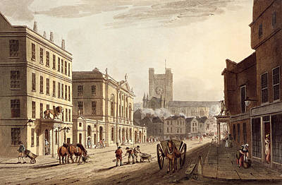Jane Austen Drawing - View Of The Town Hall, Market And Abbey by John Claude Nattes