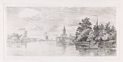 Niece Drawing - View Of The Vecht At Nichtevecht The Netherlands by Elias Stark