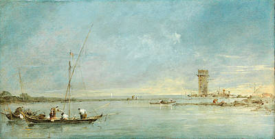 Francesco Guardi Painting - View Of The Venetian Lagoon With The Tower Of Malghera by Francesco Guardi