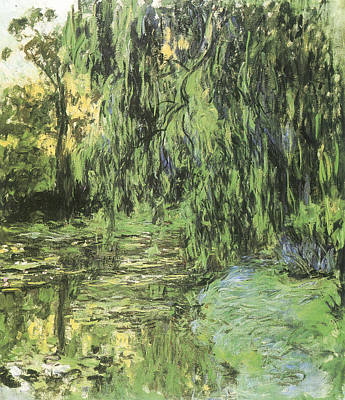 Waterlily Painting - View Of The Water-lily Pond With Willow Tree by Claude Monet