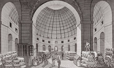 Halle Photograph - View Of The Wheat Market And The Cupola, 18th-19th Century Engraving by Pierre Courvoisier