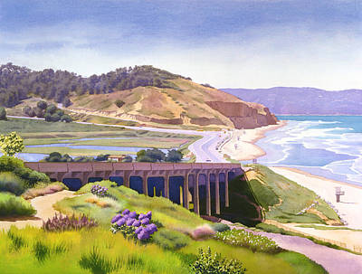 Ocean Landscape Painting - View Of Torrey Pines by Mary Helmreich