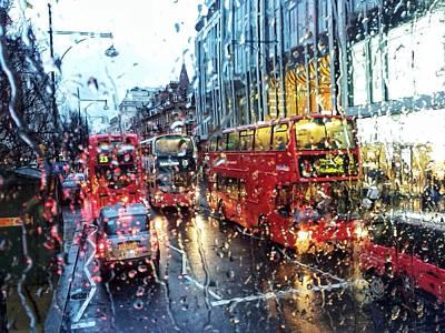View Of Traffic Through Wet Window Art Print by Silvia Michelucci / Eyeem