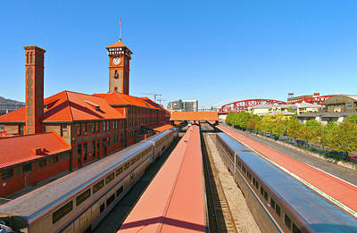 Railroad Stations Photograph - View Of Trains At Railroad Station by Panoramic Images